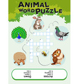 Game template for animal word puzzle vector image vector image