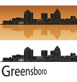 Greensboro skyline in orange background vector image vector image