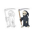 human skeleton in black robe standing with scythe vector image