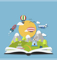 imagination concept open book with rocket and vector image vector image