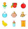 kiddy icons set cartoon style vector image vector image