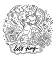 lets sing unicorn vector image vector image