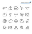 logistics and shipping line icons editable vector image