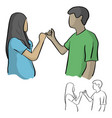 man and woman having pinky promise hand holding vector image vector image