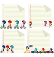 paper design with kids riding and driving vector image vector image