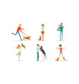 people with their pets men and women characters vector image vector image