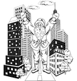 Santa Claus with city vector image