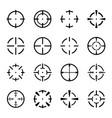 set of crosshair icons on white background vector image