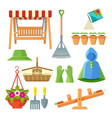 Set of garden equipment and decorative accessories
