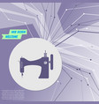 sewing machine icon on purple abstract modern vector image