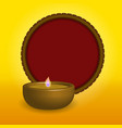 shubh happy diwali festival oil lamp with a red vector image
