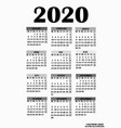simple design for calendar 2020 vector image
