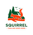 squirrel and mountain logo design template vector image
