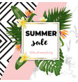summer sale template with marble and pink vector image vector image