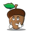 thinking acorn cartoon character style vector image vector image