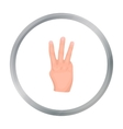 Three fingers icon in cartoon style isolated on vector image vector image