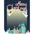 Two angels above cityscape Christmas greeting card vector image vector image