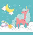unicorn moon star vector image vector image