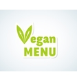 Vegan Menu Sticker Sign or Emblem Fork vector image vector image