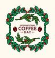 vintage frame coffee plants vector image vector image