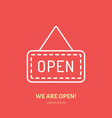 we are open sign flat line icon retail vector image vector image