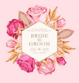 wedding invitation with vintage pink roses vector image