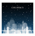 winter night in cincinnati night city in flat vector image vector image