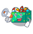 with megaphone character wooden box of kids toys vector image vector image