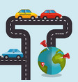 world planet with gps navigation icons vector image