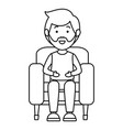 young man sitting on sofa vector image