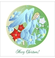 Stained Glass Windows with Christmas Angel vector image