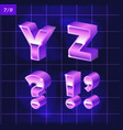 80 s retro alphabet font metallic effect type vector image vector image