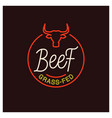 beef logo round linear grass fed beef on black vector image
