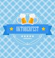 Beer festival Oktoberfest badge on blue background vector image vector image