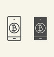 bitcoin digital wallet line and glyph icon vector image vector image