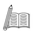 book and pencil black and white vector image vector image
