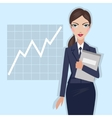 Business woman with folder in hand vector image