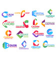 c letter corporate identity business icons vector image vector image