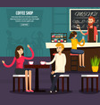 cafe worker flat composition vector image vector image