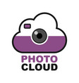 cloud camera logo photo video control icon vector image