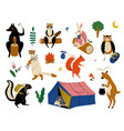 collection animals characters having hiking vector image vector image