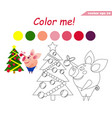 coloring book with pig decorating tree vector image vector image