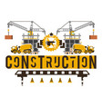 construction site crane lifting concrete slabs vector image vector image