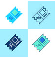 coupon icon set in flat and line style vector image