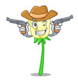 cowboy white rose in the shape cartoon vector image vector image
