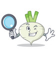 detective turnip character cartoon style vector image vector image