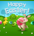 easter bunny and eggs with little duck in field vector image vector image