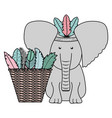 elephant with feathers hat and basket straw vector image vector image