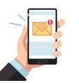 email notification on smartphone in hand inbox vector image vector image