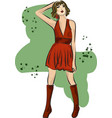 fashion sketch of girl in short dress vector image